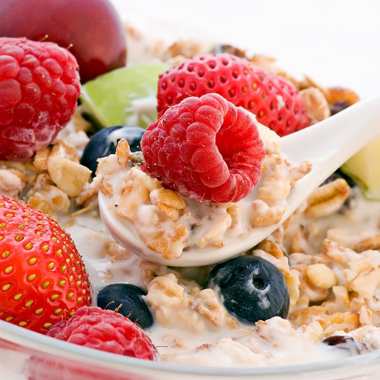 Imagen de cereales y frutas